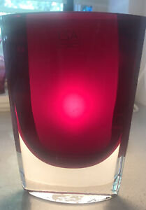 """LSA 8"""" Glass Vase Ruby Red Poland Hand Crafted Oval Heavy Tall Art Clear"""