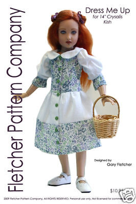 "Button Up Doll Clothes Sewing Pattern for 14/"" Kish Fletcher Pattern Co"