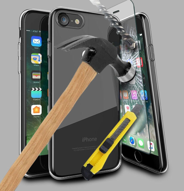 For Apple iPhone X 8 7 Clear Case Cover and Tempered Glass Screen Protector OU