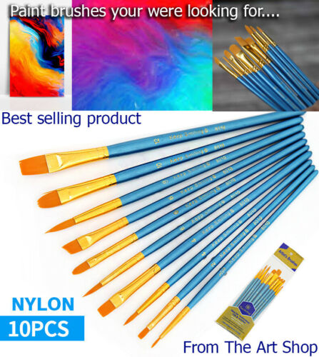 Paint Brush Set 10nos High Quality Nylon Watercolor Canvas Oil Brushes Painting