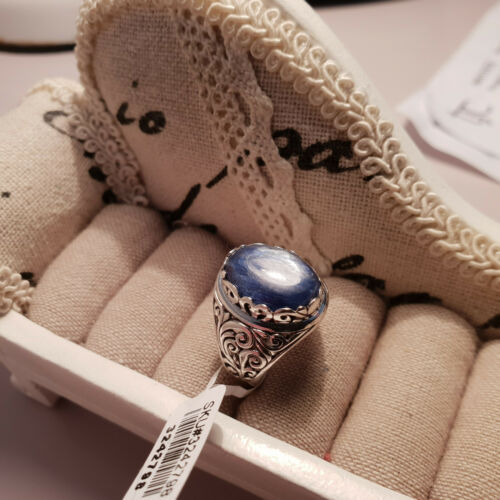 Beautiful Kashmir Blue Kyanite Ring in hand crafted Sterling Silver