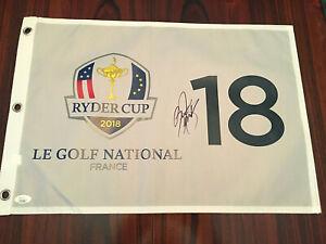 Rickie-Fowler-signed-JSA-COA-2018-Ryder-Cup-Flag-Masters-US-Open-PGA-Tiger-Rare