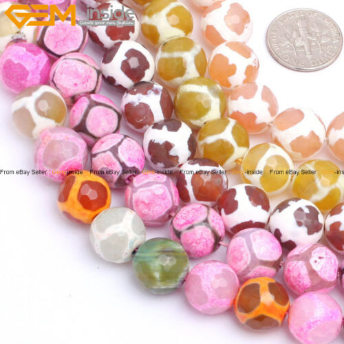 """12mm Faceted Round Gemstone Football Fire Agate Beads For Jewelry Making 15/"""""""