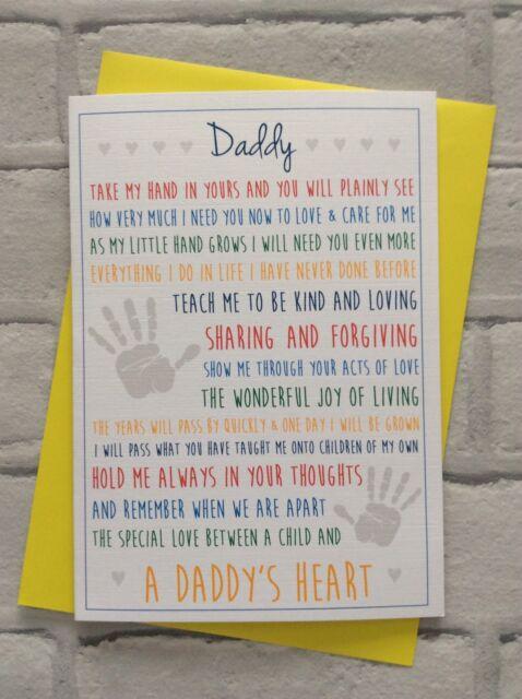 Handmade Personalised Dad Birthday Card A Daddys Heart Poem Ebay