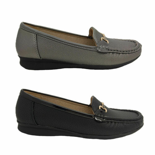 Ladies Shoes Bellissimo Emily Slip On Loafer Soft Black or Pewter Sizes US 5-10