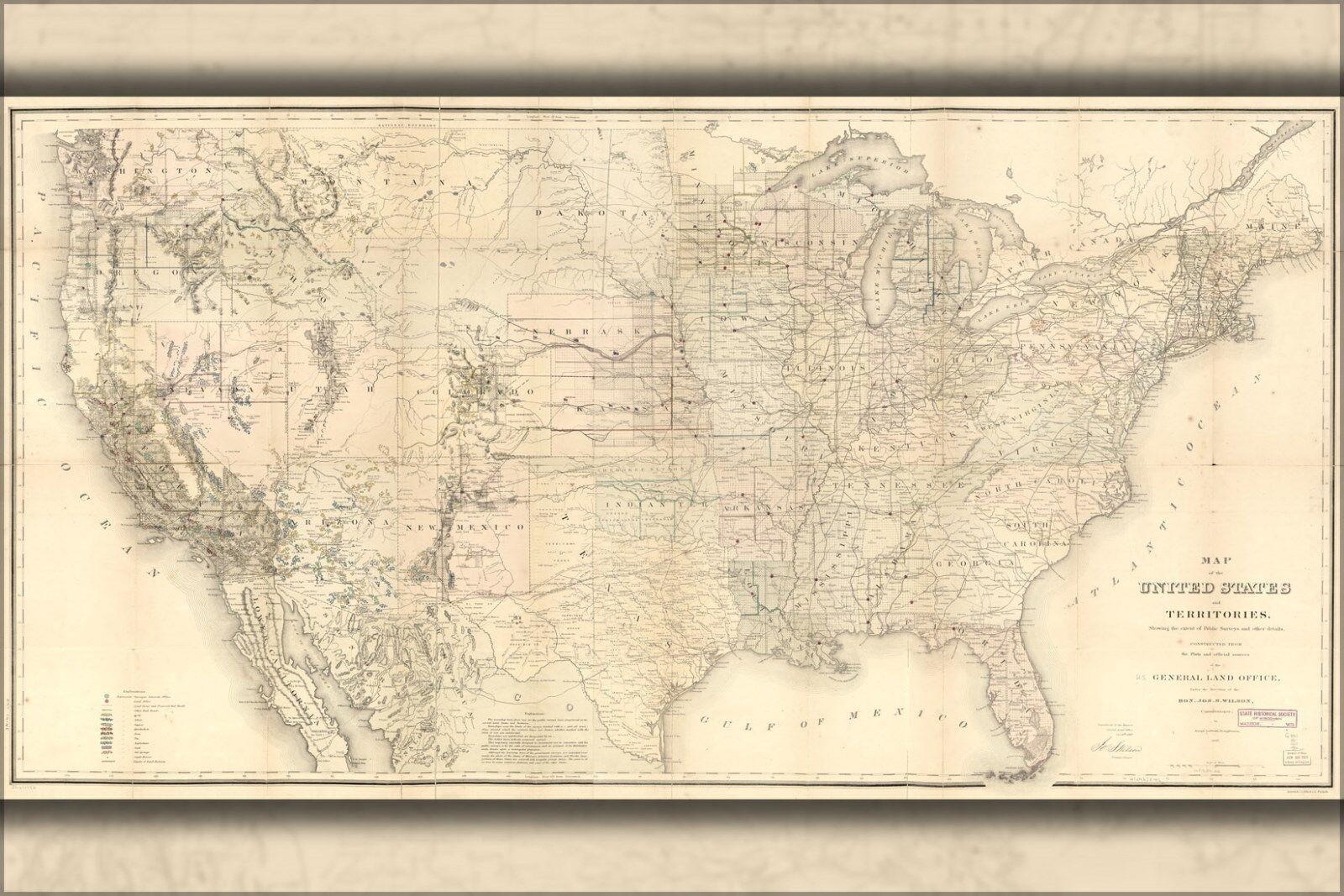 Plakat, Viele Größen; Landkarte der Vereinigte Staaten 1867 P2