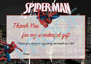 Spiderman Pack Of 10 Thank You Cards Kids Children Birthday Ebay