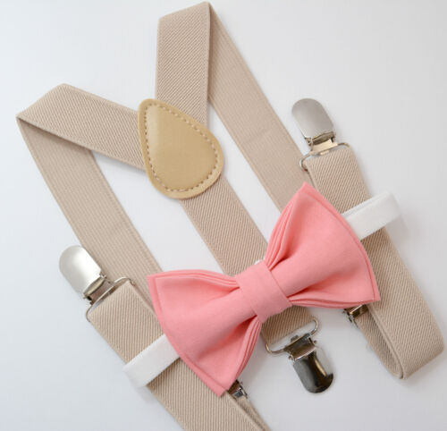 Kids Boys Mens Baby Tan Khaki Suspenders /& Coral Bow Tie Infant ADULT SET