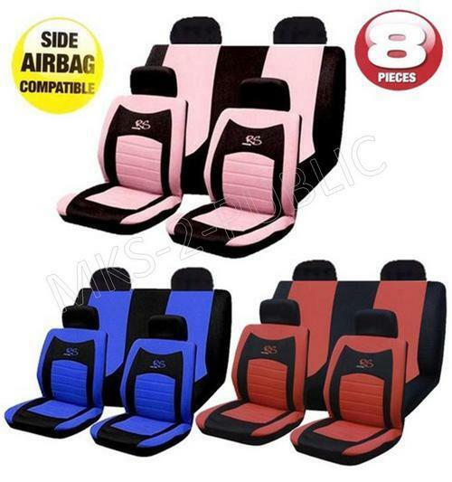 Black Pink RS Racing Sports Style Car Seat Covers Set Universal Fit Protectors
