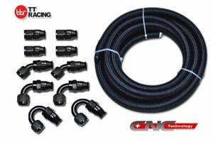 8-AN8-Black-Nylon-Braided-PTFE-Fuel-Hose-Line-20ft-10-Fittings-E85