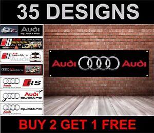 Audi-Auto-Logo-PVC-Banner-per-Officina-Garage-amp-Camera-da-Letto