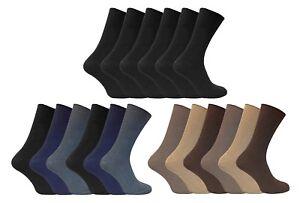 7e6fd27f5614 6 Pack Mens Soft 100% Cotton Rich Non Elastic Loose Wide Top Thin ...