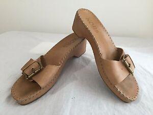 MICHAEL-KORS-Sandals-Slides-Platform-Heels-Tan-Leather-Size-7-5M