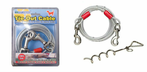 METAL STEEL SPIRAL STAKE POLE TIE OUT COLLAR CABLE LEAD LEASH DOG PET PUPPY WIRE