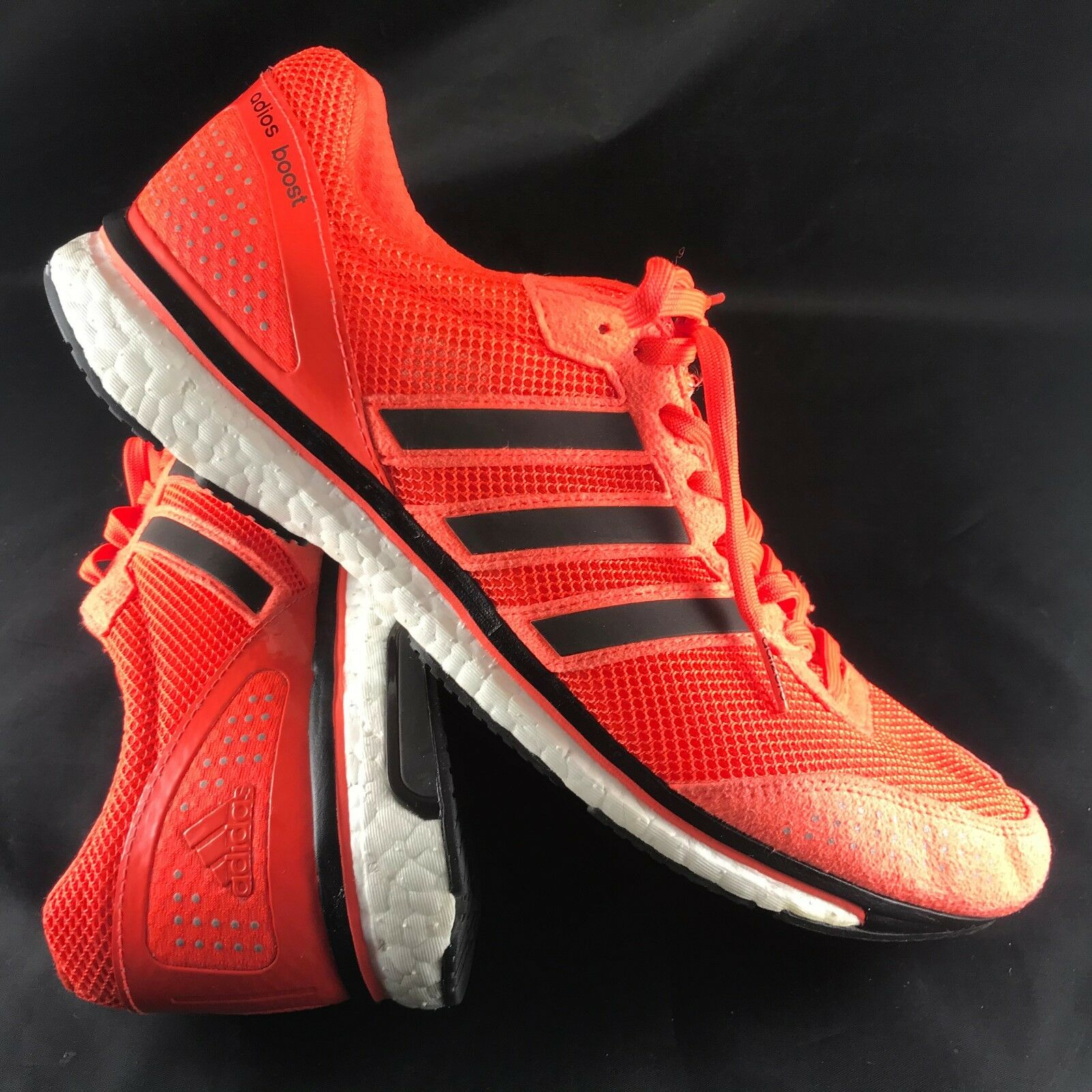 ADIDAS ADIOS BOOST Mens Solar Red Black Stripes Size 12 US, 46 2 3 EUR 11 1 2 UK