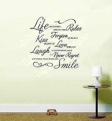 """Decal,Vinyl Transfer Inspirational Wall Quote /""""Life is Short/"""" Wall Art Sticker"""
