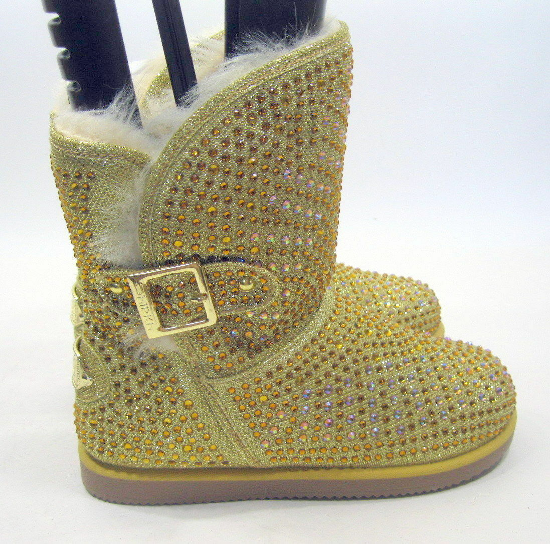 NEW LADIES Urban Glitter gold Rhinestones Winter Ankle Sexy Boot Size 8