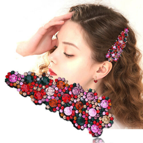 2PCS Women/'s Crystal Snap Hair Clips Pin Hairpin Slide Grip Barrette Accessories