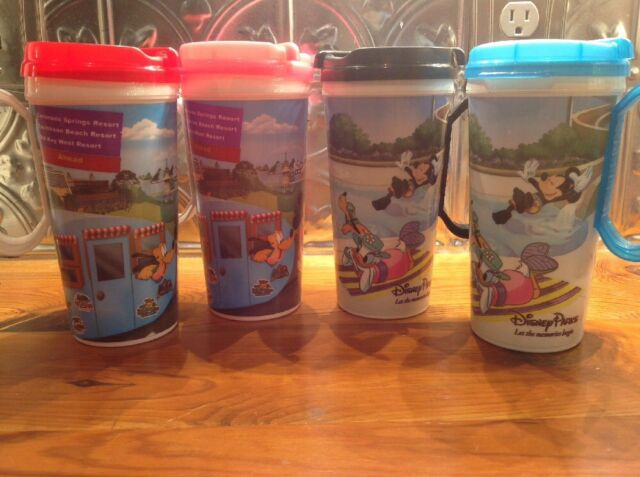 WALT DISNEY WORLD Souvenir Refillable Travel Mugs Cup Set of 4 Colors Rapid Fill