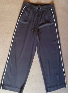 NEXT-Black-White-Side-Stripe-Casual-Trousers-RRP-28-in-8-12-Reg-amp-Long