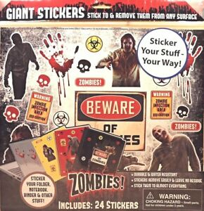 Zombies-Giant-Stickers-24-count-School-Binder-Folder-Monster-Sticker-Removable
