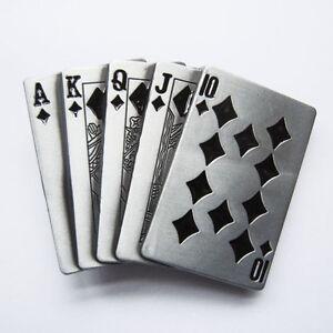 Hommes-Boucle-Royal-Flush-Poker-Cartes-Boucle-de-ceinture-Gurtelschnalle-Loop-de-ceinture
