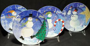NEW-SNOW-PALS-4-Dessert-Plates-ZULAUF-DESIGN-8-034-ONEIDA-Snowmen-CHRISTMAS