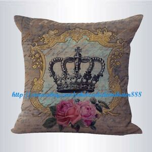 US-SELLER-decorative-throw-pillows-on-shabby-chic-crown-rose-cushion-cover