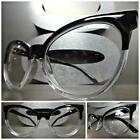 CLASSIC VINTAGE CAT EYE Style Clear Lens EYE GLASSES Black & Transparent Frame