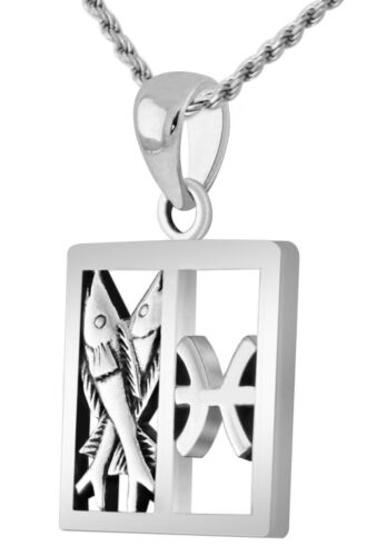 New 7//8in 0.925 Sterling Silver Pisces Zodiac Symbol Pendant Necklace