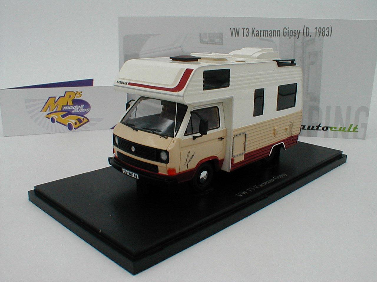 Autocult 09008 - VW T3 Karmann Gipsy Baujahr 1983   weiß-creme-rotbraun   1 43
