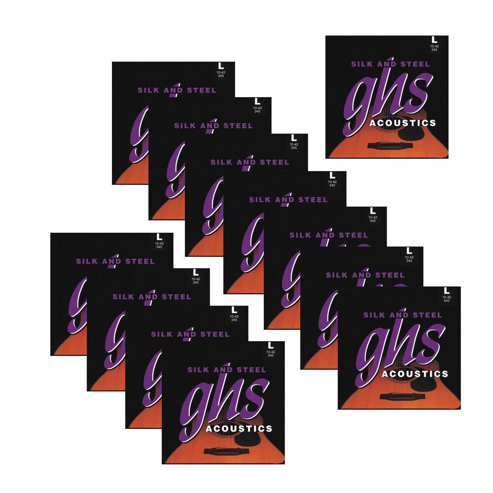12-Pack GHS 345 Silk & Steel Light Silber-Plated Acoustic Guitar Strings (10-42)