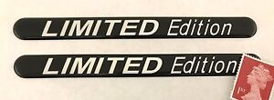 2-x-120mm-Limited-Edition-Stickers-Super-Shiny-Domed-Finish-Chrome-Text-on-Black