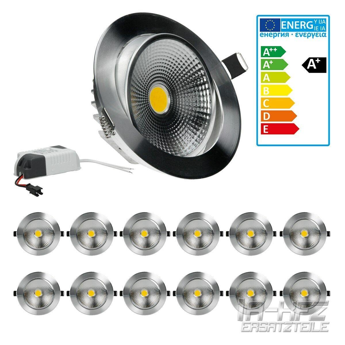 12 x LED COB Einbaustrahler Einbaulampe Strahler Beleuchtung Rund 12W Warmweiß