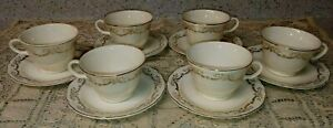 6 Vtg Edwin Knowles KNO10 Cup & Saucer Sets 12PC Arcadia Gold Leaf Ribbons Bows