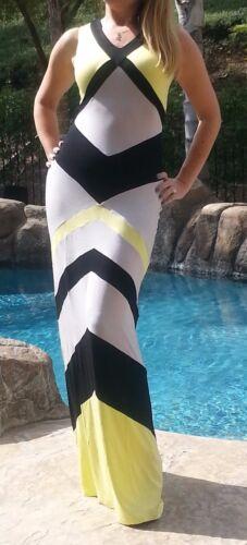 Maya Antonia-PLUS SIZE-Color-Block Yellow-Grey-Black Maxi Dress,Extra Long