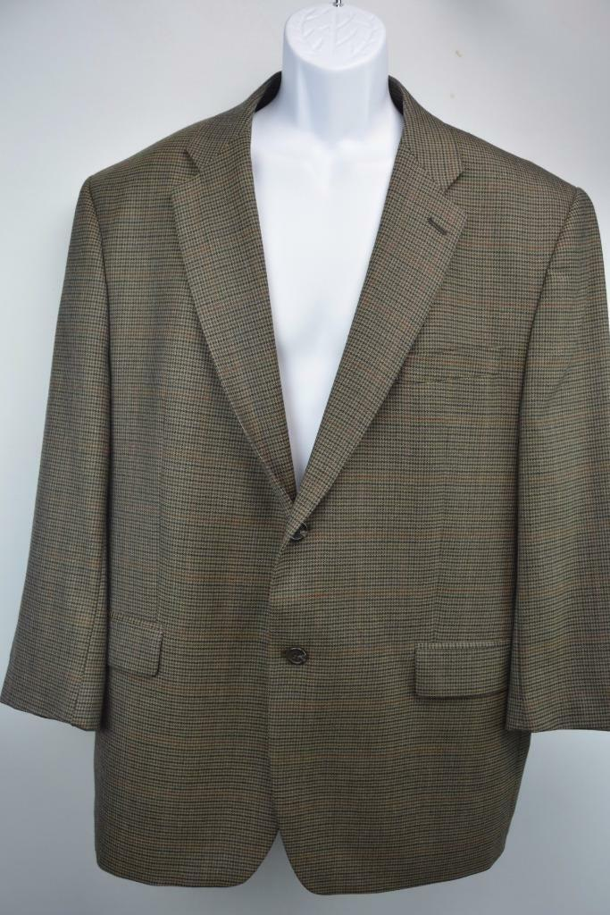 RALPH LAUREN 2 Button Fully Lined Blazer Sportcoat Brown Houndstooth Mens 46R