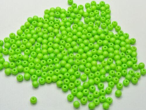 """0.16/"""" Entretoise 1000 Matte Vert Néon Couleur Acrylique Ronde Graine Perles 4 mm"""