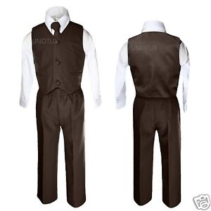 Baby Boys Toddler Wedding Formal Party Vest Set Dark Brown Suit
