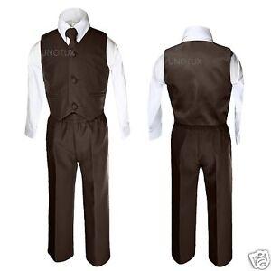 Baby Boys Toddler Wedding Formal Party Vest Set Dark Brown Suit