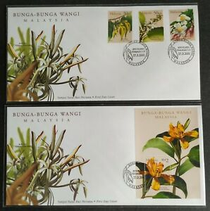 2001-Malaysia-Scented-Flowers-Bunga-Wangi-Stamps-amp-MS-pair-FDC-KL-Cachet-Lot-A