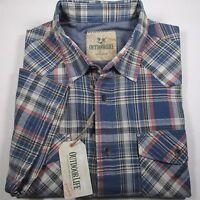 OUTDOOR LIFE Men's Short Sleeve Plaid Cotton Western Shirt BLUE Size Large NWT