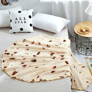 Snack Tortilla Pattern Beach Blanket Round Burrito Shaped Sofa Bath Beach Towel