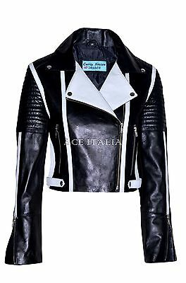 Ladies Black White Biker Casual Style Designer Real Italian Leather Jacket 6027