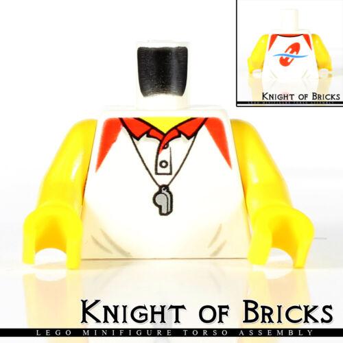LEGO Minifigure Torso 345 WHITE Polo Shirt SILVER Whistle RED Lifeguard