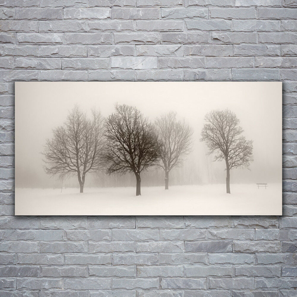 Impression sur verre Wall Art 120x60 Photo Image Neige Arbres Paysage
