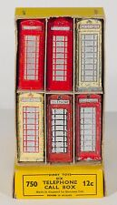 Dinky Pre-War 750 Trade Box of six 12c Telephone Boxes. Boxed/Original 1940s