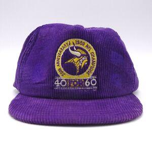 e719a88f Details about Minnesota Vikings Vtg 40 for 60 hat 20th Anniversary - New  Era USA Corduroy cap