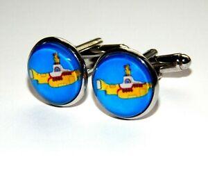 Sailor cuff Cufflinks for men Yellow Submarine Cufflinks Cuff links Nautical Silver Beach Wedding Groom Groomsman Nautical Cuff Links