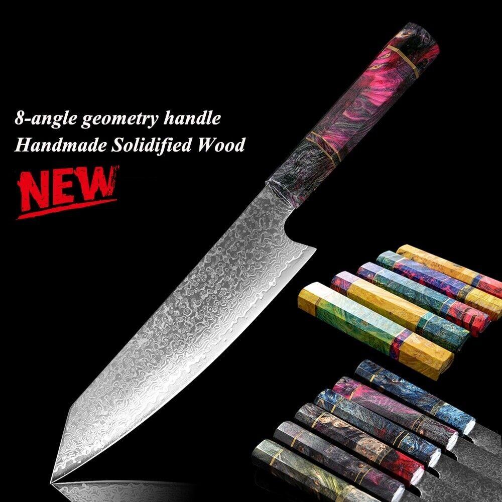 Chef Knife VG10 67 couches d'acier Damas unique couleur bois poignée Santoku Gyuto
